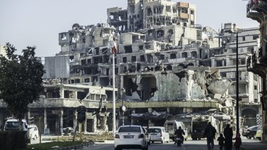 The bombed-out city of Homs.