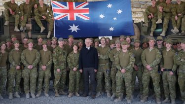 Prime Minister Malcolm Turnbull met with Australian troops serving at Camp Qargha near Kabul, Afghanistan in April 2017.