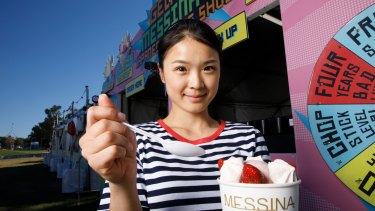 Messina's Kristy Huang with best seller Aunty Tomsu's Cheesecake Sundae at the Enlighten Night Noodle Markets.