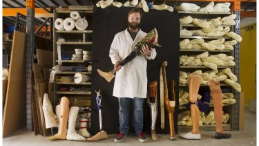 Prosthetic art:  Karl Huttenmeister in his workshop with some of his  creations.