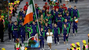 Flag bearer Patrick Barnes of Ireland leads his team during the Opening Ceremony of the Rio 2016 Olympic Games at Maracana Stadium on August 5, 2016 in Rio de Janeiro, Brazil.