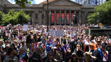 Women's March in Melbourne to protest against US president Donald Trump.