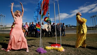 Supporters of marriage equality on the lawn of Parliament House.