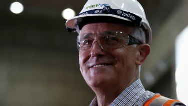 Crossing the Rubicon? Malcolm Turnbull tours a hydro-power station this week.