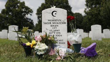 The tombstone of US Army Captain Humayun Khan in Section 60 at Arlington National Cemetery in Arlington, Virginia.