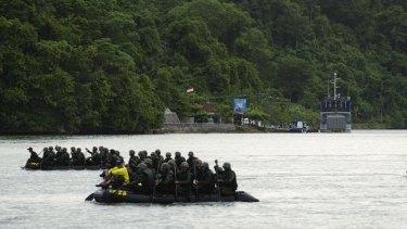 Military training near Nusakambangan Prison, where Andrew Chan and Myuran Sukumaran will be executed within days.