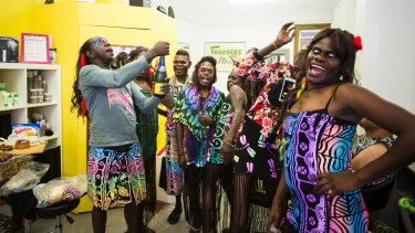 The Sistagirls from the Tiwi Islands prepare for the Sydney Gay and Lesbian Mardi Gras at Marked Hair Salon in Newtown.