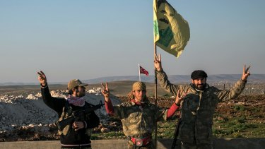 A file picture of Syrian Kurdish militia members of the YPG in Aleppo province, Syria.
