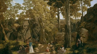 At the Hanging Rock by William Ford (1875, National Gallery of Victoria) may have inspired Lindsay's novel.