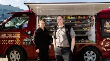 Vanchise owner Val Burns is on the road to more customers with Tasty Fresh Food Co IT manager Doug Newnham.
