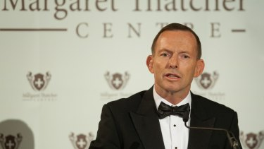 Former Prime Minister Tony Abbott gives The Margaret Thatcher Lecture at a banquet for The Margaret Thatcher Centre held at London's Guildhall.