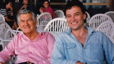 """Craig Emerson with former prime minister Bob Hawke. When he left the PM's office for a job in Queensland, Hawke paid tribute to the """"particular bond and affection"""" between the two men."""