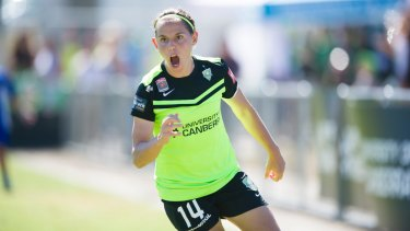 Canberra United skipper Ash Sykes was the W-League golden boot winner last season.