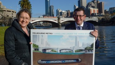 Public Transport Minister Jacinta Allan and Premier Daniel Andrews on the banks of the Yarra on Wednesday.