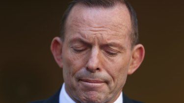 Tony Abbott delivers his statement in the Prime Minister's courtyard at Parliament House on Tuesday.