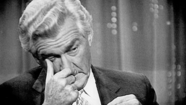 Bob Hawke cries on television in 1989 after admitting infidelity.