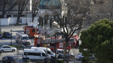 Rescuers and police arrive at the blast site after an explosion in central Istanbul's historic Sultanahmet district.