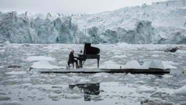 Ludovico Einaudi played piano on a floating platform in the Arctic Ocean to campaign for its conservation.