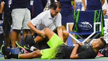 Abrupt end: Nick Kyrgios was forced to retire from his third-round match at the US Open due to a hip problem.