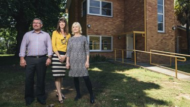 Dan Stewart, Elisabeth Judd and Annabelle Pegrum, of Elton Consulting, outside their new office in Acton.