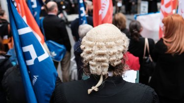 The Legal Aid rally attracted hundreds of people, including barristers and lawyers.