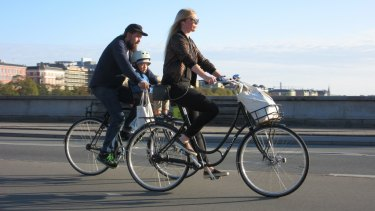 Safe conduit: cycling across Queen Louise's Bridge, Copenhagen.