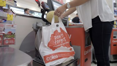 """Coles said it supported """"voluntary options on single-use, lightweight plastic bags because our customers have told us they would like to make an informed choice""""."""