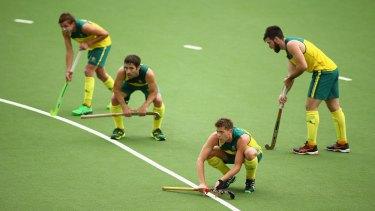 The Kookaburras get ready to take a penalty corner.
