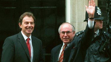 Former prime minister John Howard with former UK prime minister Tony Blair.