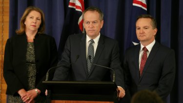 Labor health spokeswoman Catherine King, Opposition Leader Bill Shorten and shadow treasurer Chris Bowen on Tuesday.