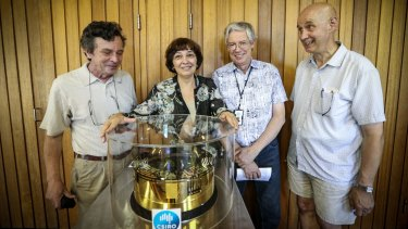 Leading CSIRO scientists who helped to develop some of the LIGO detection equipment (from left) Anatoli Chtanov and his wife Svetlana Dligatch, Wayne Stuart and Ron Bulla.
