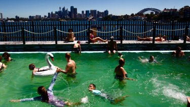 Swimmers cool off at MacCallum pool at Cremorne Point on Friday.