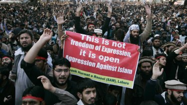 Counterpoint: People protest against Charlie Hebdo in Lahore.