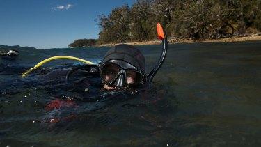 Marine scientist Tom Davis at Fly Point, Nelson Bay.