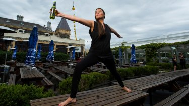 Emily Casey will be holding beer yoga classes at The Village on St Kilda Road.