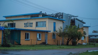 The Bowen Squash Centre's roof lost in Cyclone Debbie.
