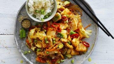 Stir-fried spicy squid.