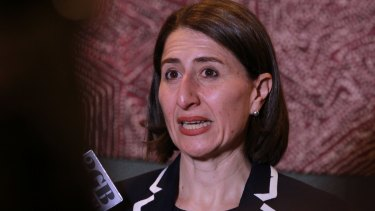 Treasurer Gladys Berejiklian announces the half-yearly budget forecast at the Four Seasons Hotel in Sydney.