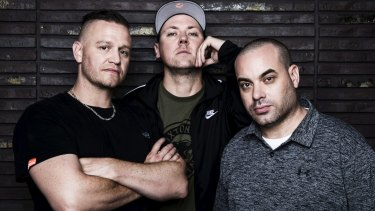 The Hilltop Hoods - Daniel Smith (left), Matthew Lambert and Barry Francis - are about to release their eighth studio album.
