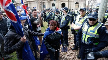 A large number of police were deployed to prevent protesters and counter-protesters from clashing.