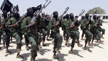 Al-Shabaab fighters in Somalia where a US Navy SEAL died this week.