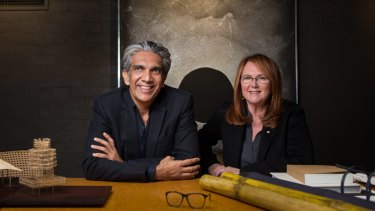 Architect Bijoy Jain and Melbourne businesswoman and philanthropist Naomi Milgrom with a model and materials for the third MPavilion.