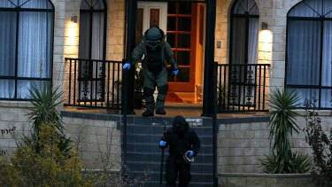 Police raid on a property in Greenvale on Friday.