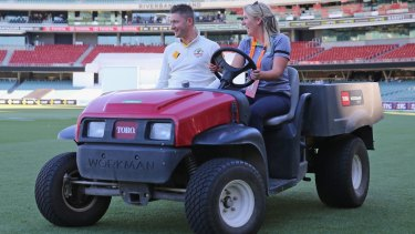 Michael Clarke is driven to the post-match press briefing on Saturday after Australia won the Test.