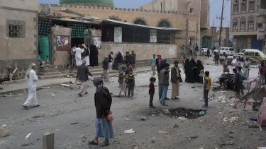 The scene after a suicide bomber attacked a mosque, killing at least 32 people, in Sanaa, Yemen, in September.