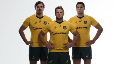 Standing together: Kane Douglas, James Slipper and Rob Simmons model the new shirt.