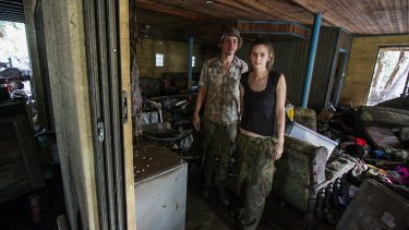 BRISBANE. NEWS. BRISBANE TIMES. Photograph taken by Michelle Smith on Friday 14th January, 2011. Paul and Sarah Smith in their flood affected rental home on Brisbane Terrace, Goodna.