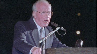 Israeli prime minister Yitzhak Rabin delivers what turned out to be his final speech to a peace rally of more than 100,000 Israelis in the Tel Aviv square that now bears his name on November 4, 1995. He was fatally shot only minutes later.