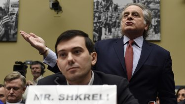 Martin Shkreli with his lawyer in front of the US Congress.