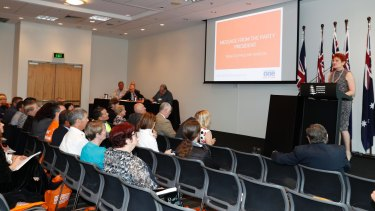 Pauline Hanson addressing the One Nation AGM in Brisbane on Thursday.